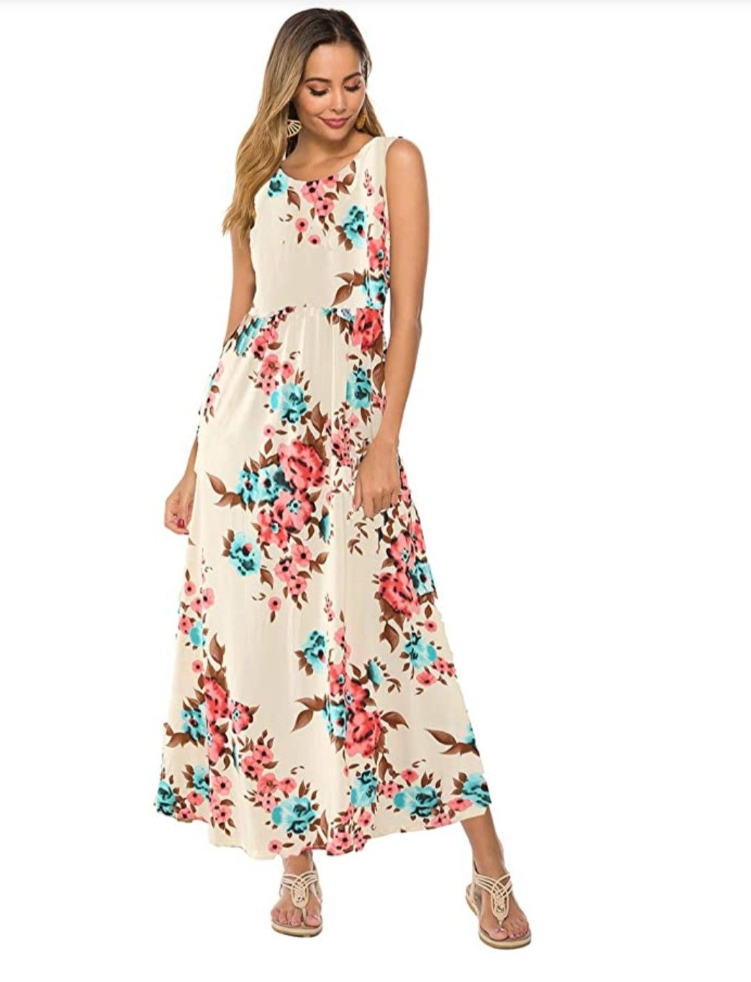 Dunea Women S Maxi Dress Floral Printed Autumn 3 4 Sleeve Casual Tunic Long Maxi Dress Womens Maxi Dresses Long Maxi Dress Floral Maxi Dress [ 1411 x 1079 Pixel ]