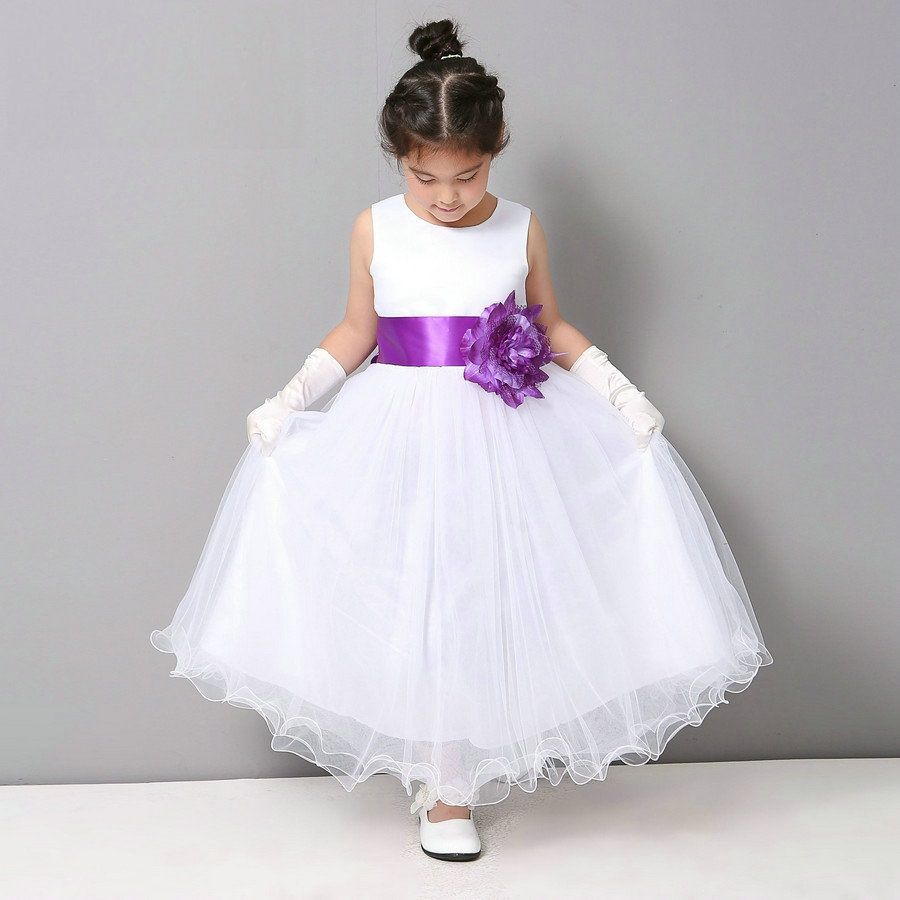 Wedding Flower Girl White Dresses for Children Toddler Kids ...