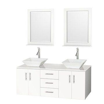 Arrano 55 Double Bathroom Vanity White With Vessel Sinks With