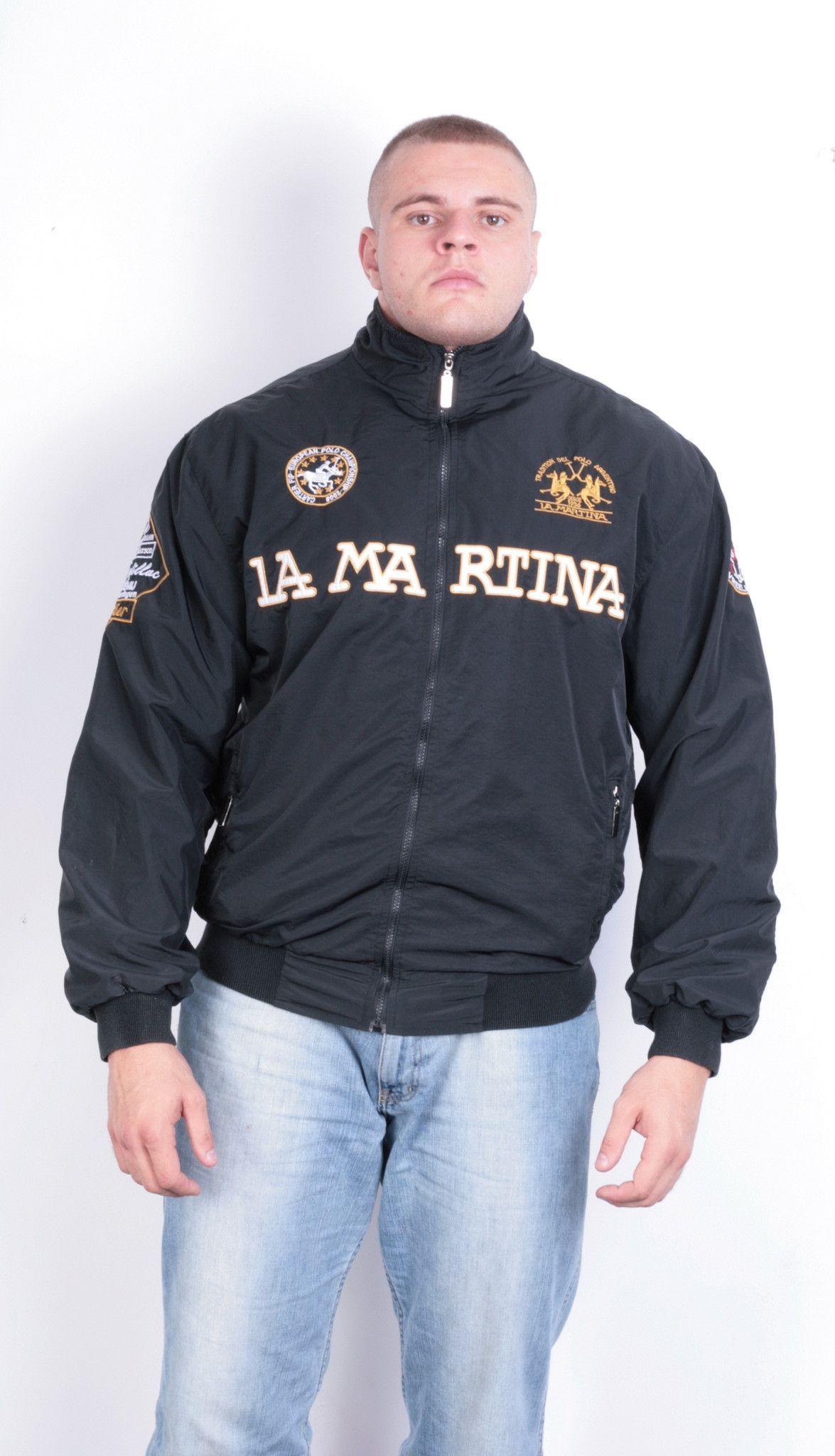 La Martina Mens 5XL Jacket Black Full Zipper Tradition Del