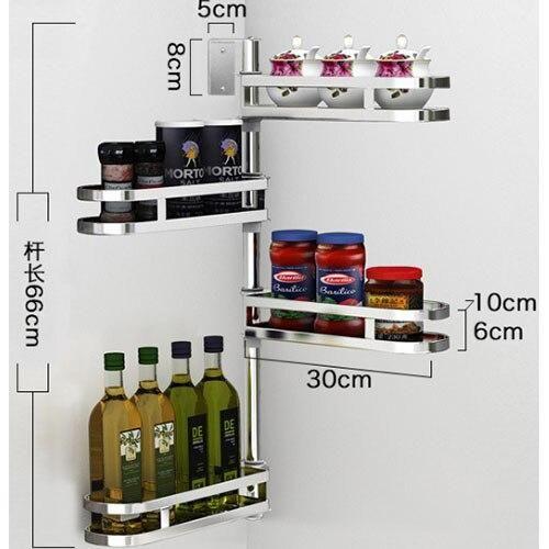 Kitchen Racks Shelf Rotate 1-5 Layers Stainless Steel Seasoning Wall Holder