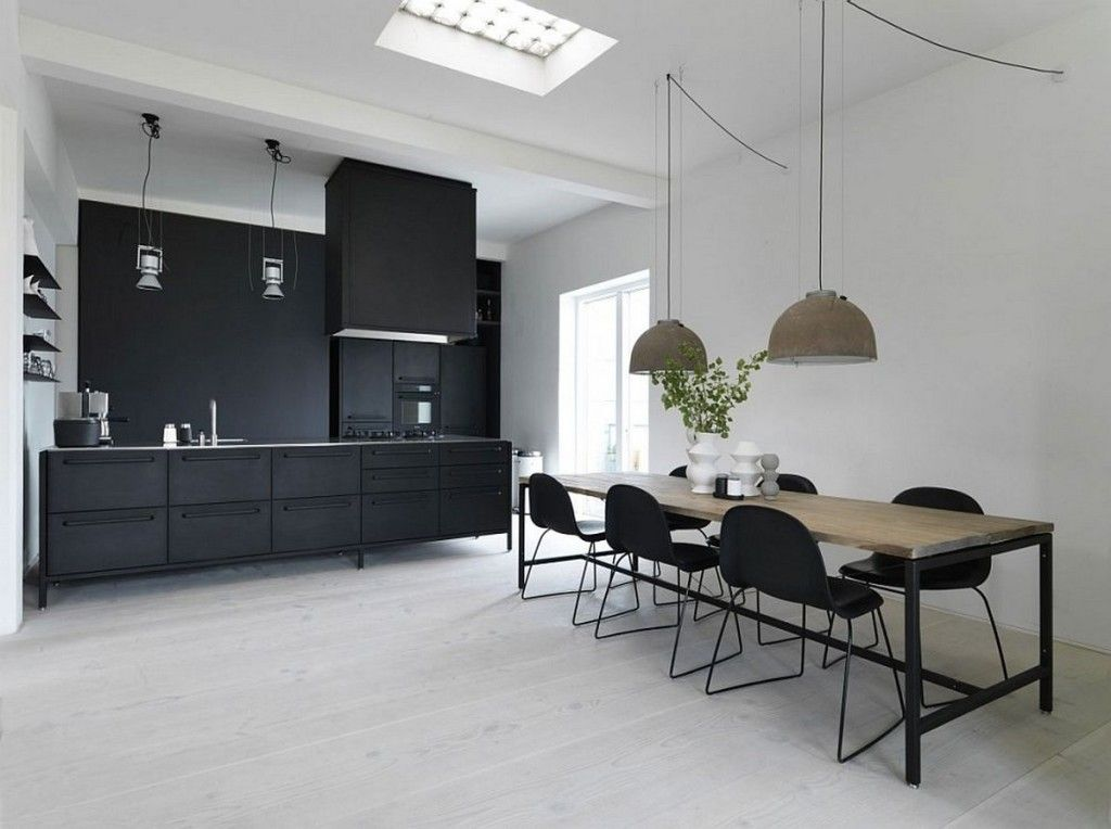 Kitchen: Ultra Modern Scandinavian Kitchen Design With Black Appliances And Furniture Set Feat Unique Bowl Shaped Pendant Lamps: Catchy Kitchen Designs with Scandinavian Style