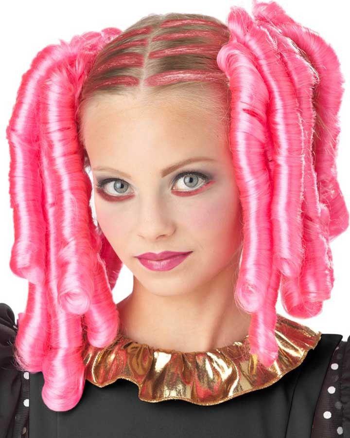 Anime curls mascara and pink wig halloween costume wigs