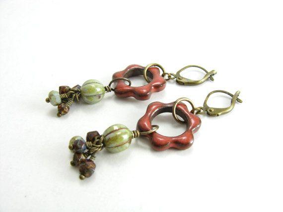 Earthy Flower Beaded Dangle Earrings Artisan Ceramic by BooBeads