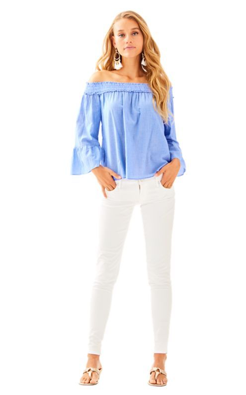 2351b782f14250 Off the shoulder tops are always a good idea. The Moira Top is no  different. It s a solid off the shoulder top with flounce 3 4 sleeves and  socked ruffled ...