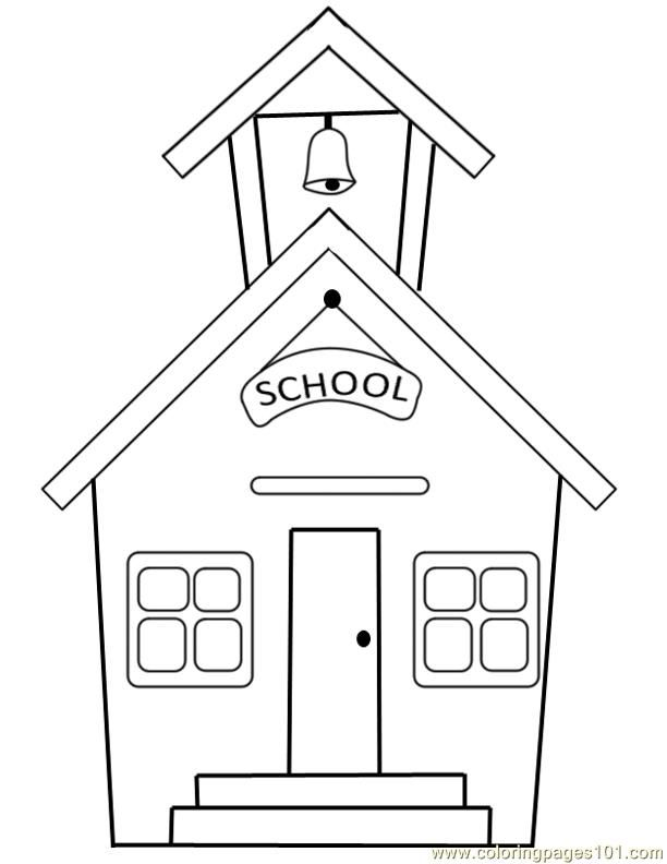 School building printable coloring page for kids and