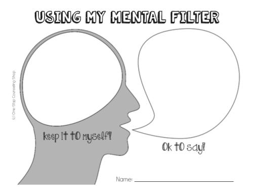 Mental Filter Activity: Brain or Speak | Speech | Pinterest | Akt