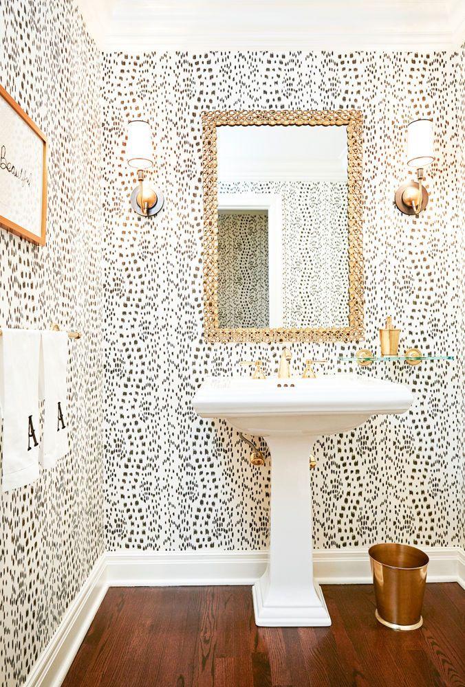 Exceptional Pedestal Sink, Natural Wood Floors, Gold Mirror, Gols Sconces, Trashcan,  Wallpaper. Bathroom GoalsBathroom TrendsBathroom ...