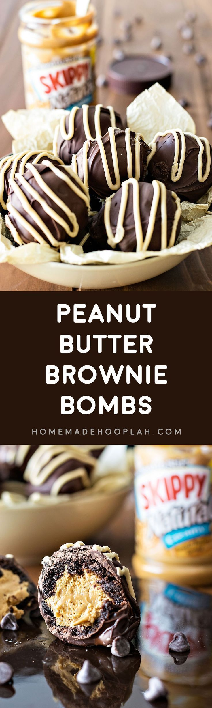 Peanut Butter Brownie Bombs! These peanut butter brownie bombs are perfect for all occasions and celebrations! Rich brownies filled with SKIPPY®️️ peanut butter and covered with chocolate and peanut butter royal icing. | HomemadeHooplah.com #SKIPPYYIPPEE #spon