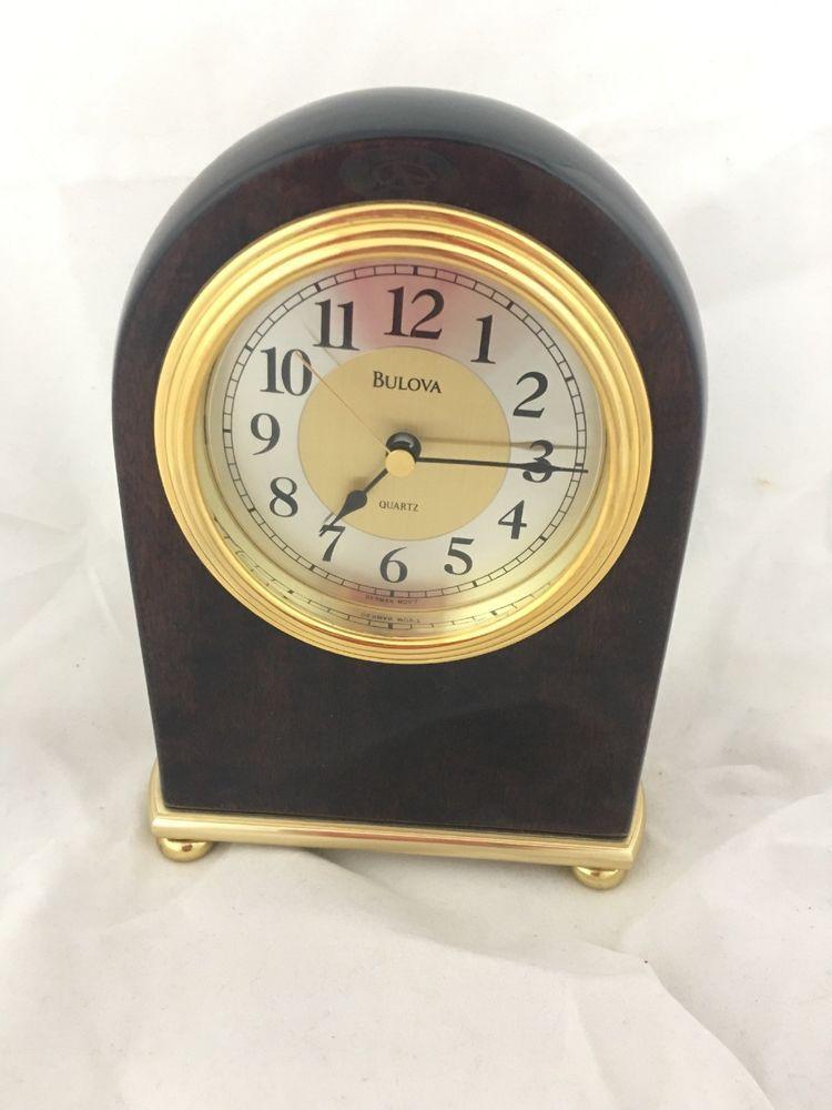 Bulova Desk Clock Grand Prix Gold Tone Dial Quartz Antique Brass Finish B1700 42429117006 Ebay Clock Mantel Clock Desk Clock