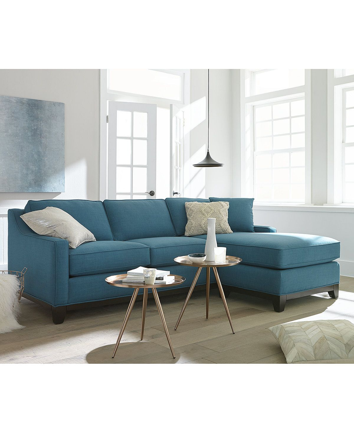 Furniture Keegan Fabric Reversible Sectional And Sofa
