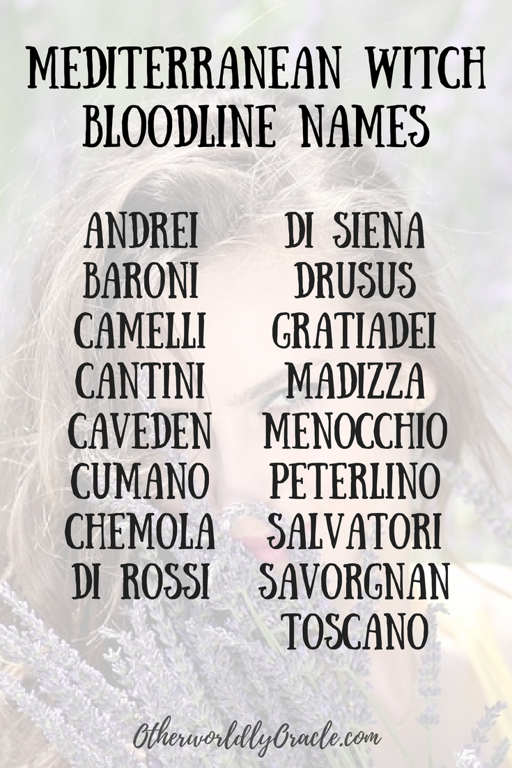 Italian Witch Bloodline Names Witchcraft Pinterest Names