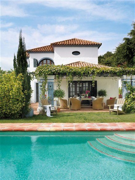 Piscina decoraci n pinterest patio espa ol y casas for Estilo de piscina