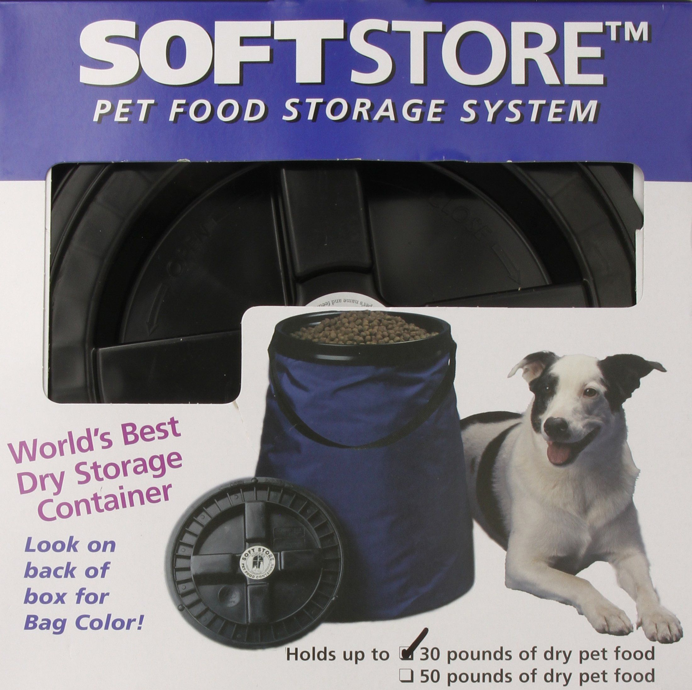 Soft Store Collapsible 30 Pound Pet Food Storage Container Blue