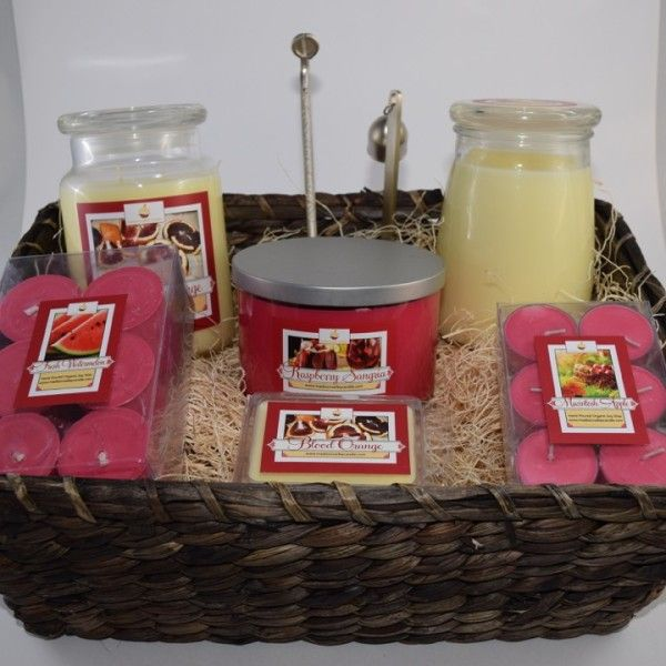 Soy Wax Candle Supreme Gift Basket With Chosen Scents Candle Gifts Baskets Candle Giveaway Candle Basket