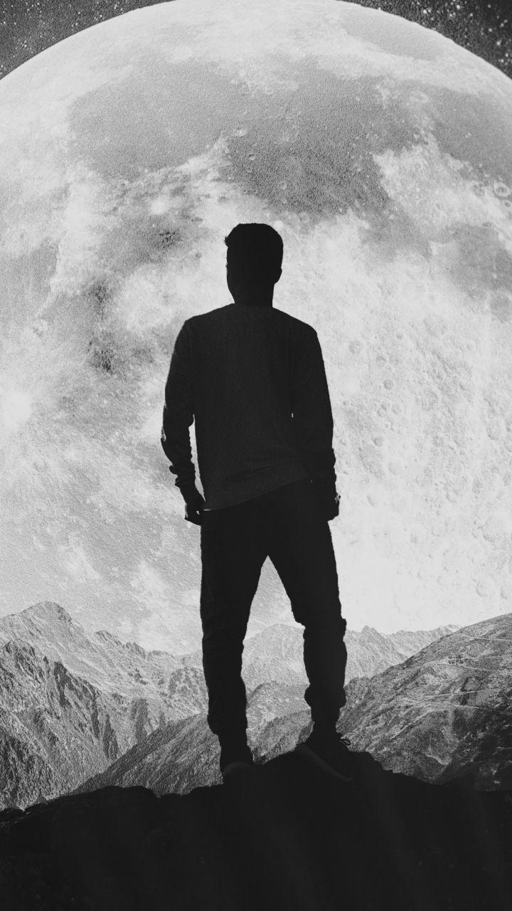 Moon, silhouette, alone, explorer, man, mountains