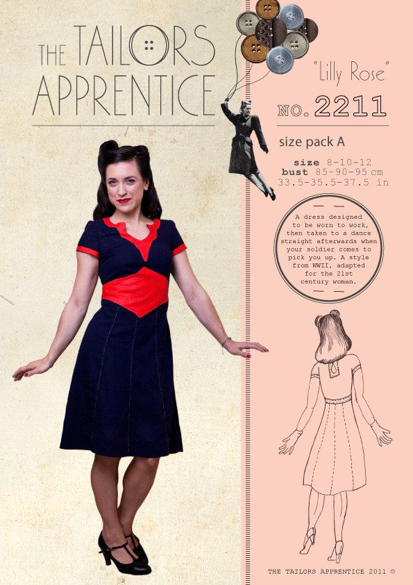 Pack C 20-22-24 Lilly Rose Style 221 1940s war time WWII dress swin ...
