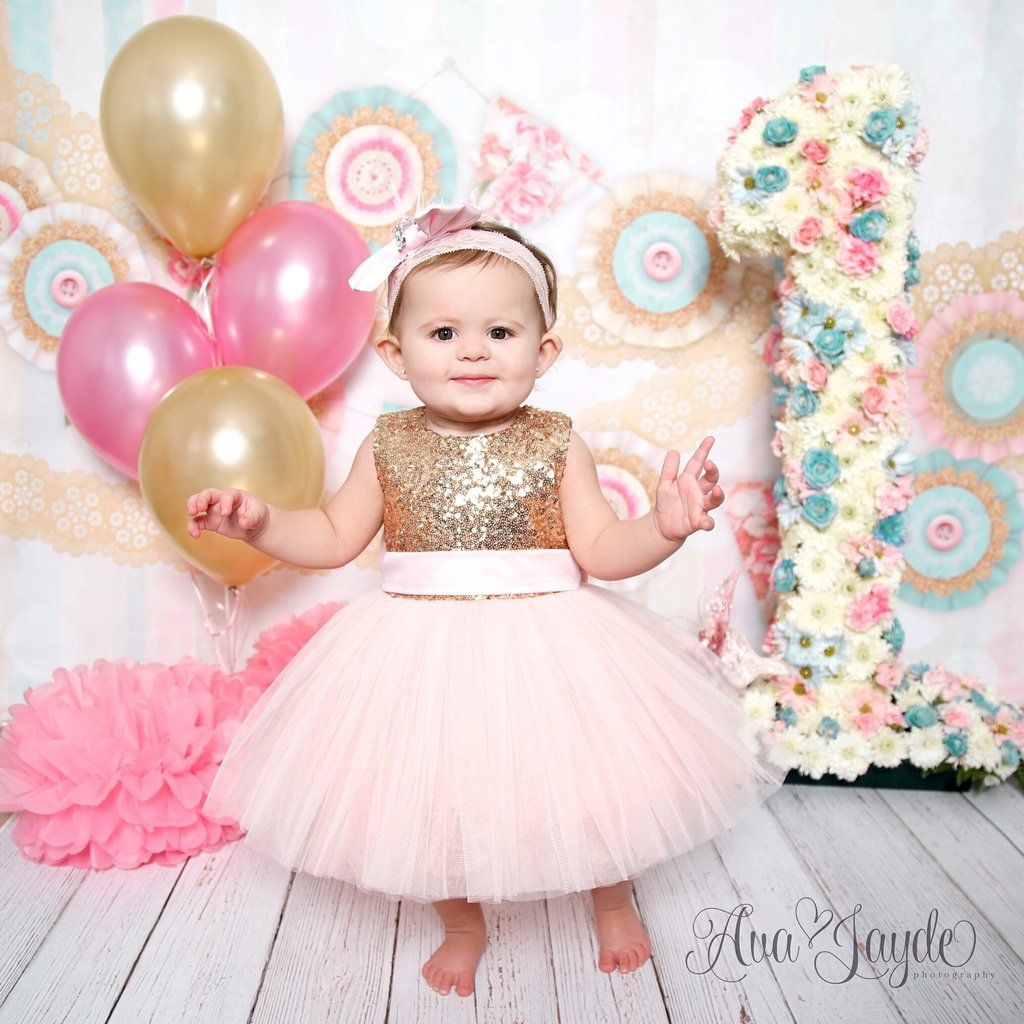 4d36a66f2779a Princess Kate Dress (Gold & Pink) | Vianna's 1st | 1st birthday ...