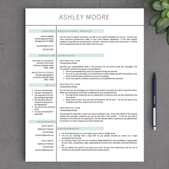 Modern Resume Templates For Word  Pages By Landeddesignstudio