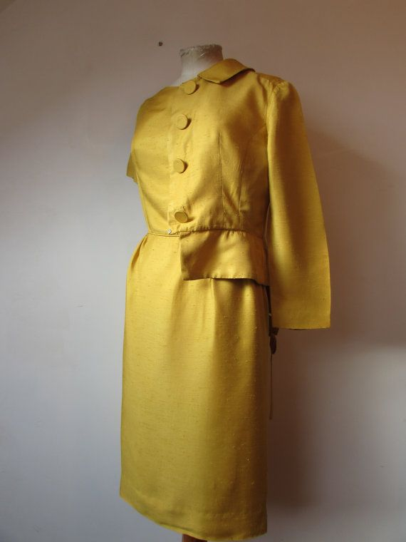 SALE Original vintage 60's / 1950's Dress 50's dress and Jacket by  Sambo   perfect for christmas , gold 50's dress and bolero jacket size S