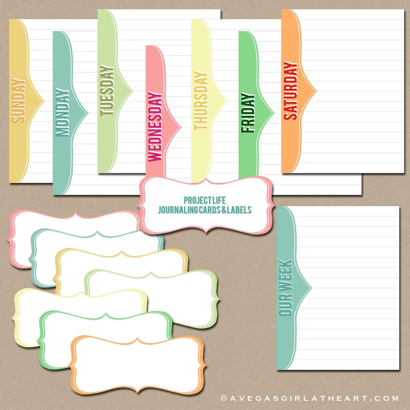 journaling cards freebie