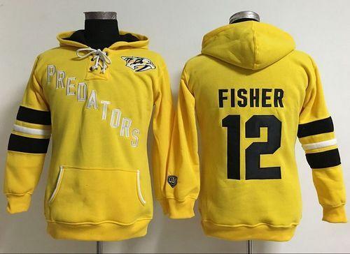 28fea61a5 Nashville Predators  12 Mike Fisher Yellow Women s Old Time Heidi Hoodie  NHL Hoodie