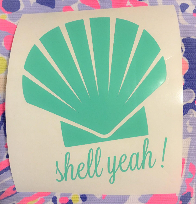 Seashell Vinyl Decal Lilly Pulitzer Decal Shell Yeah Outdoor Vinyl Laptop Vinyl Decal Car Vinyl Deca Lilly Pulitzer Decal Laptop Vinyl Decal Vinyl Sticker [ 1500 x 1445 Pixel ]