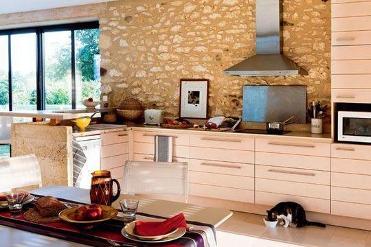 Cuisine ouverte sur la salle manger 50 id es gagnantes d co pinterest renovation - Cuisine mur en pierre ...