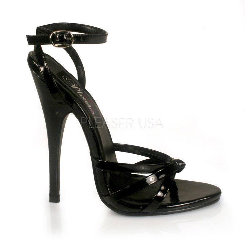 High heel strappy sandal, 6 inch stiletto heels, in black patent, sizes 5
