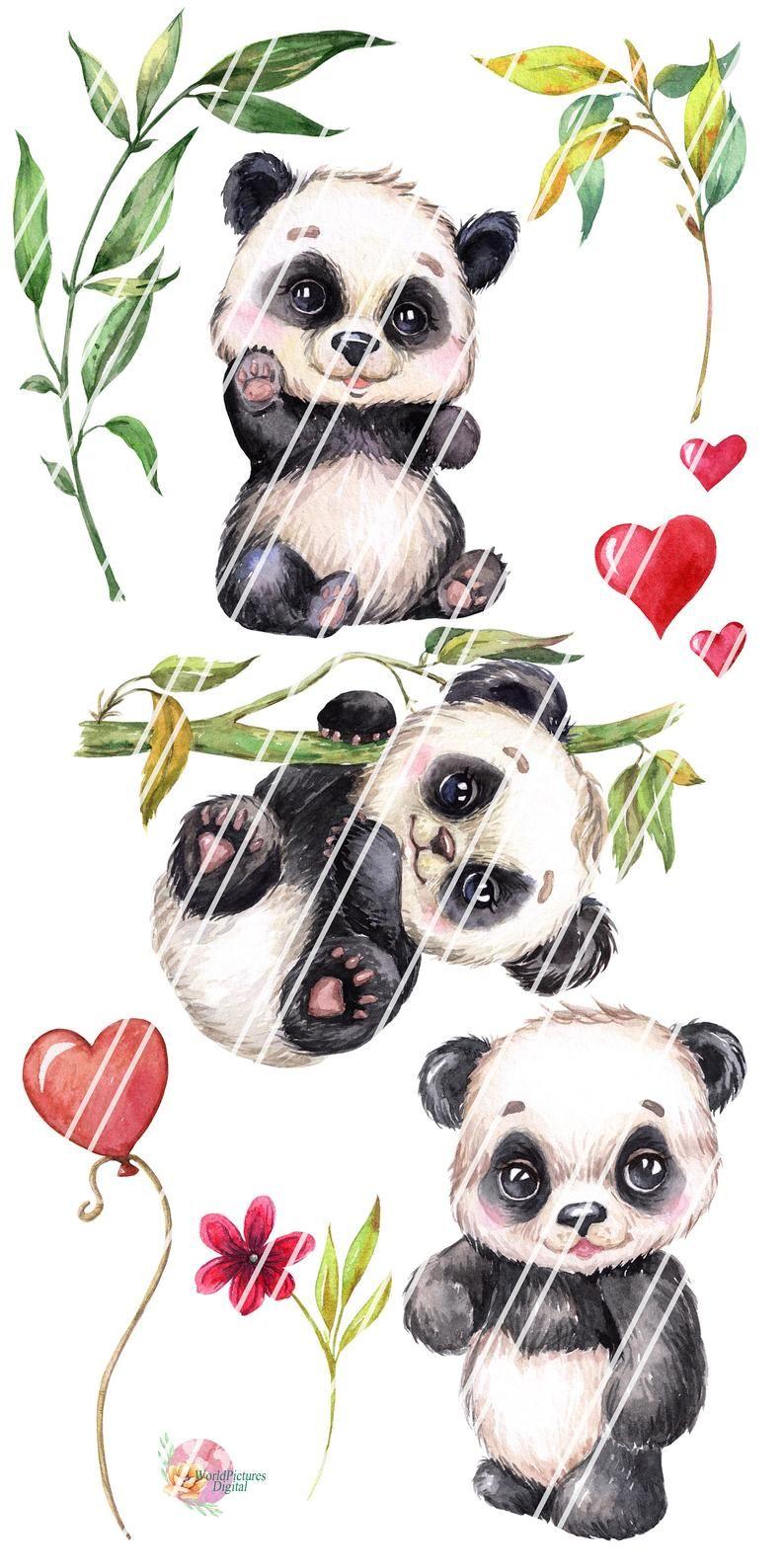 Little Panda Watercolor Clipart Cute Baby Animal Clip Art Tropical Animals Png Nursery Art Hand Painted Digital Download Panda Art Panda Painting Cute Panda Drawing