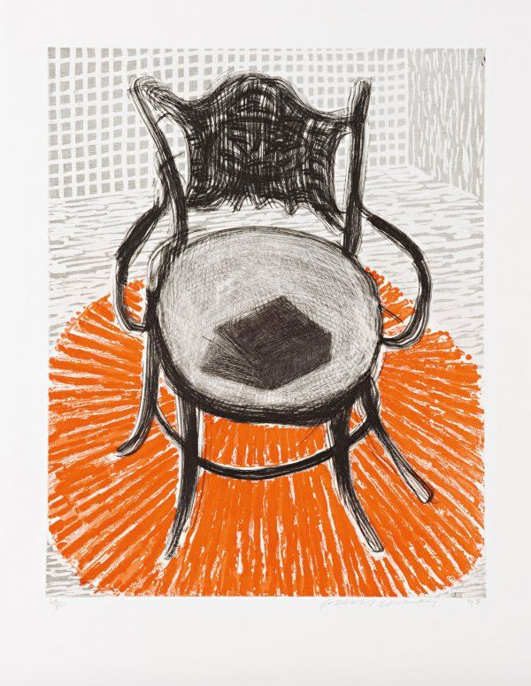David Hockney, 'Chair with Book on Red Carpet' Etching and aquatint printed in colours, 1998.