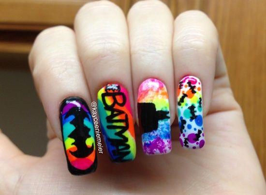 bat man nail art (34) Batman Nail Designs, Batman Nail Art, White - Batman Nails Nails Batman Nails, Nails, Batman Nail Designs