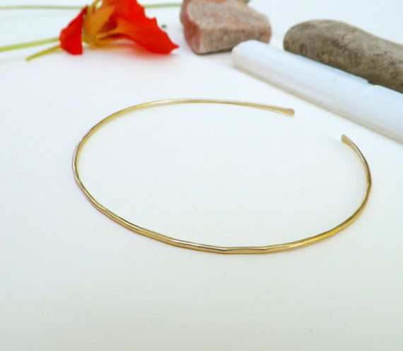 Thin gold cuff, simple rustic gold bracelet, skinny delicate gold ...