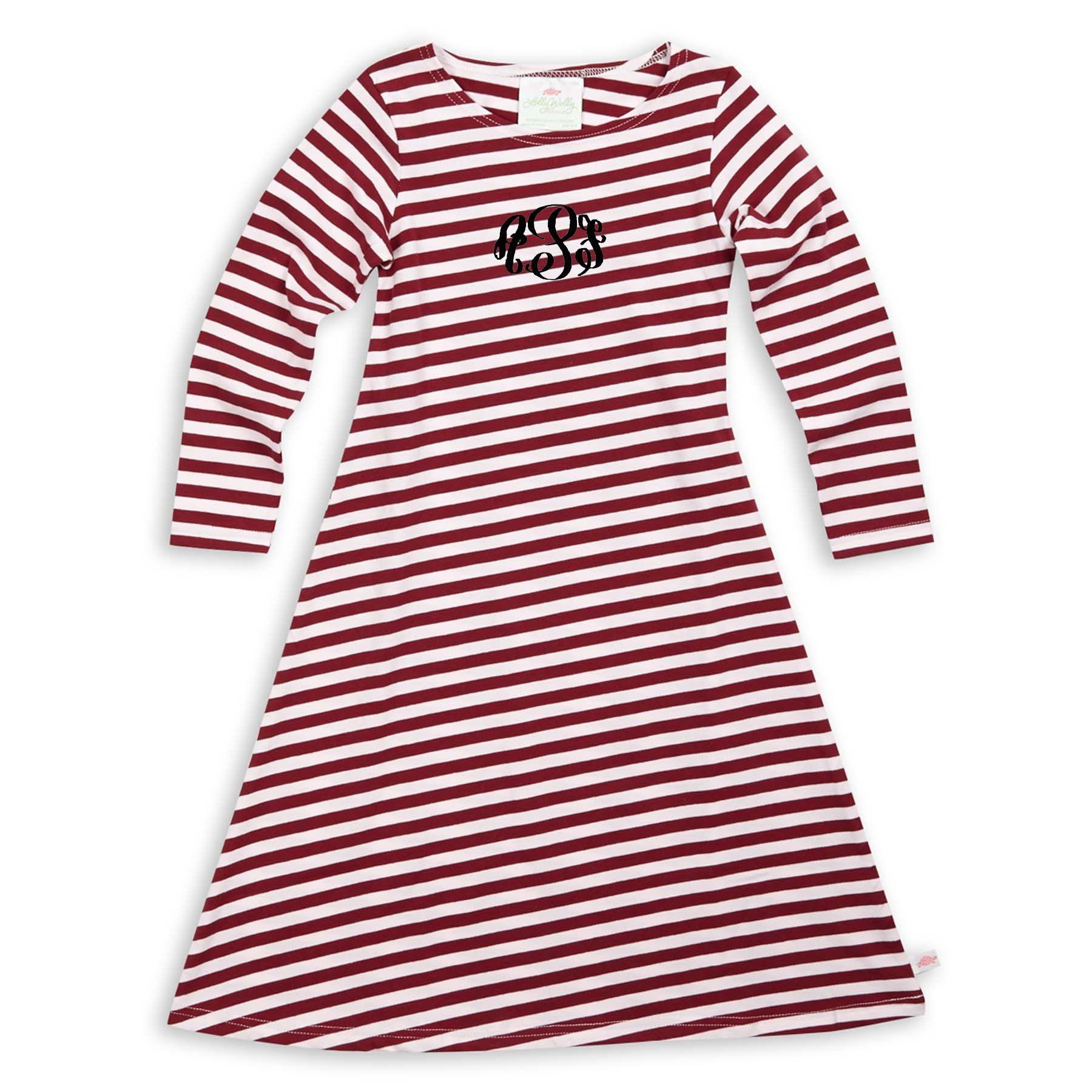 Burgundy White Stripe Cotton Maxi Dress