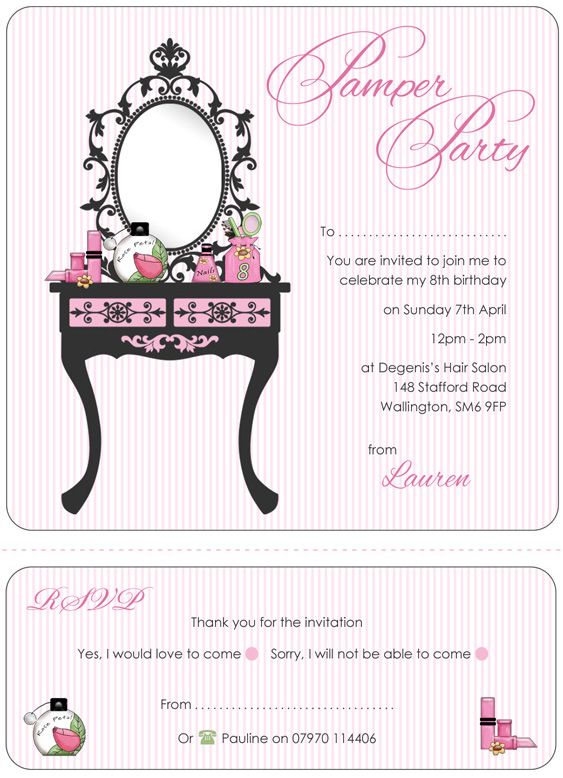 pamper party invitations template uxOyG1lc Birthday ideas - free party invitations templates