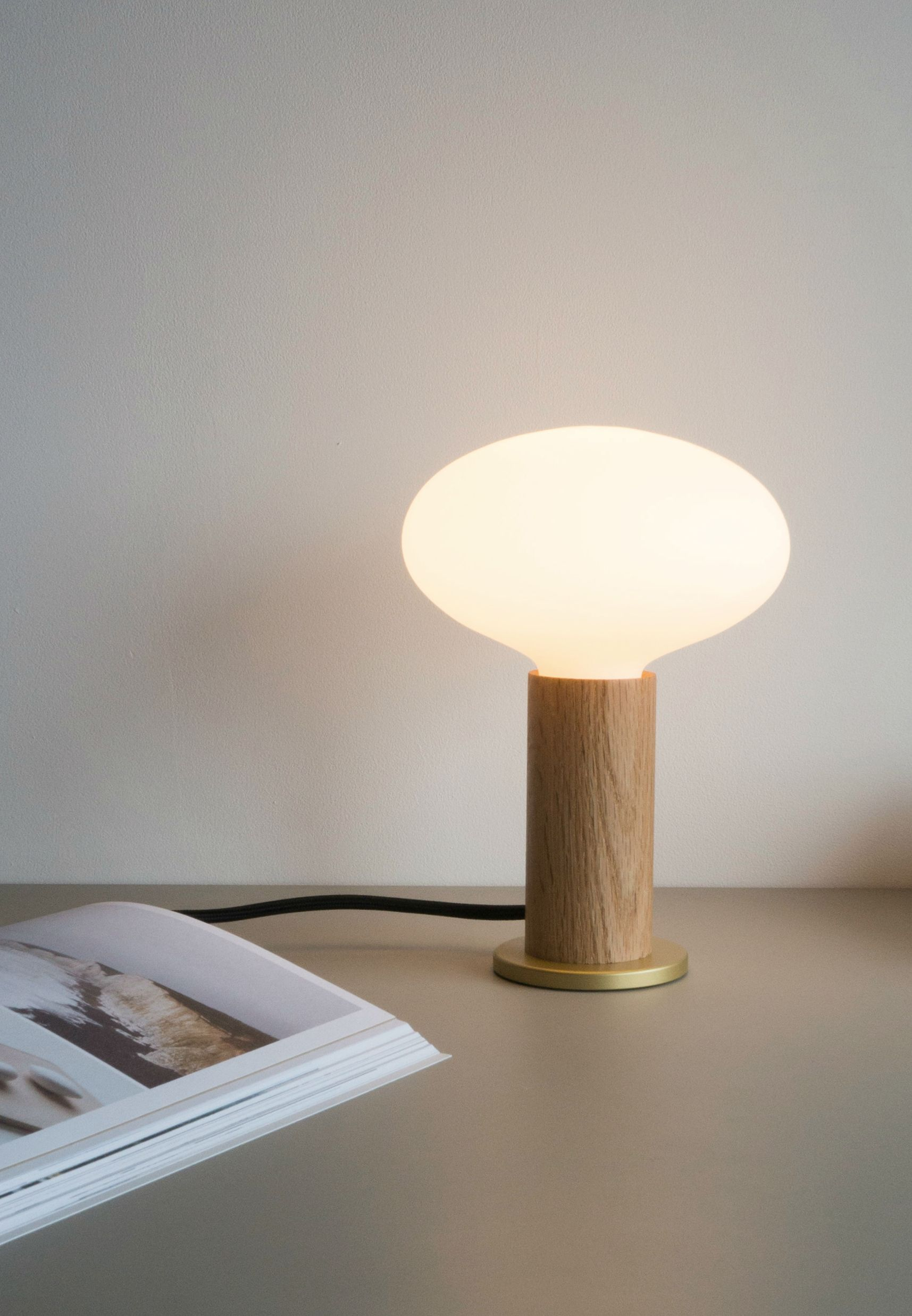 Oval Oak Touch Lamp Feature Collection Tala Touch Lamp Lamp Mouth Blown Glass