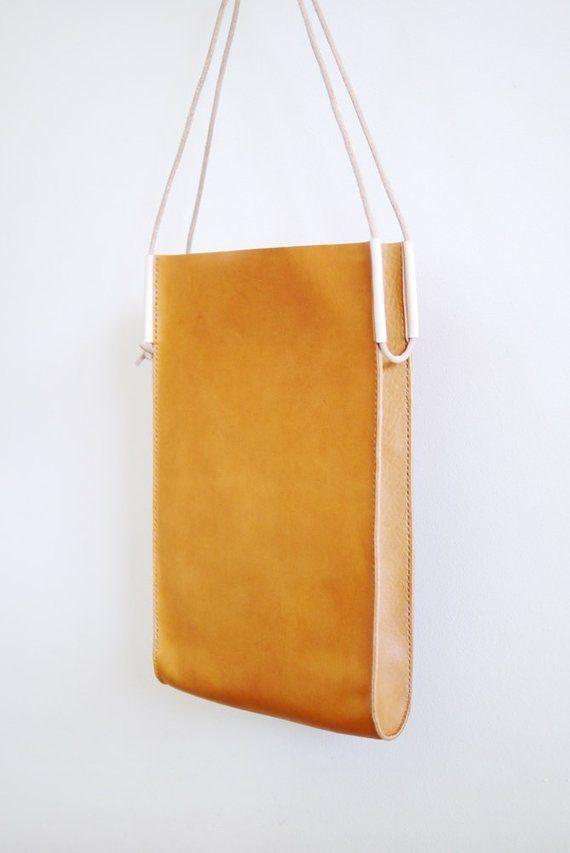 Skinny Tote Bag – bolso de cuero marrón caramelo – #