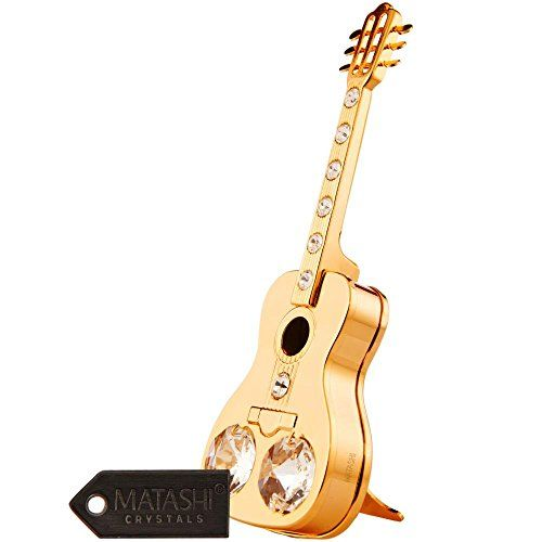 24k Gold Plated Acoustic Guitar Christmas Ornament With 9 Crystals Acousticguitar Christmasornaments Guitar Chris Teapot Ornament Figurines Shoe Ornaments