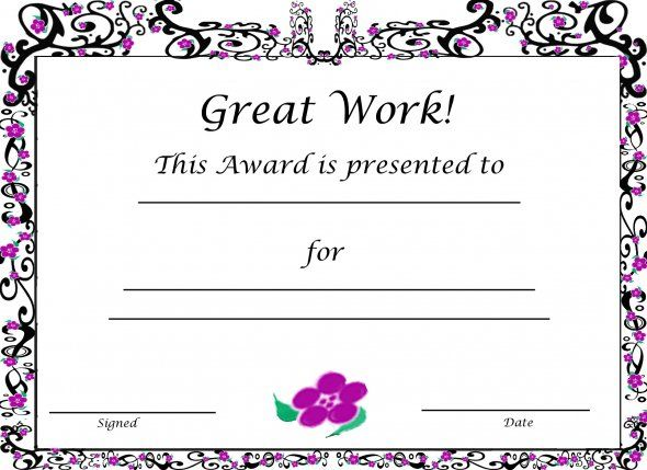 Free Printable Award Certificates For Kids Pinterest Certificate
