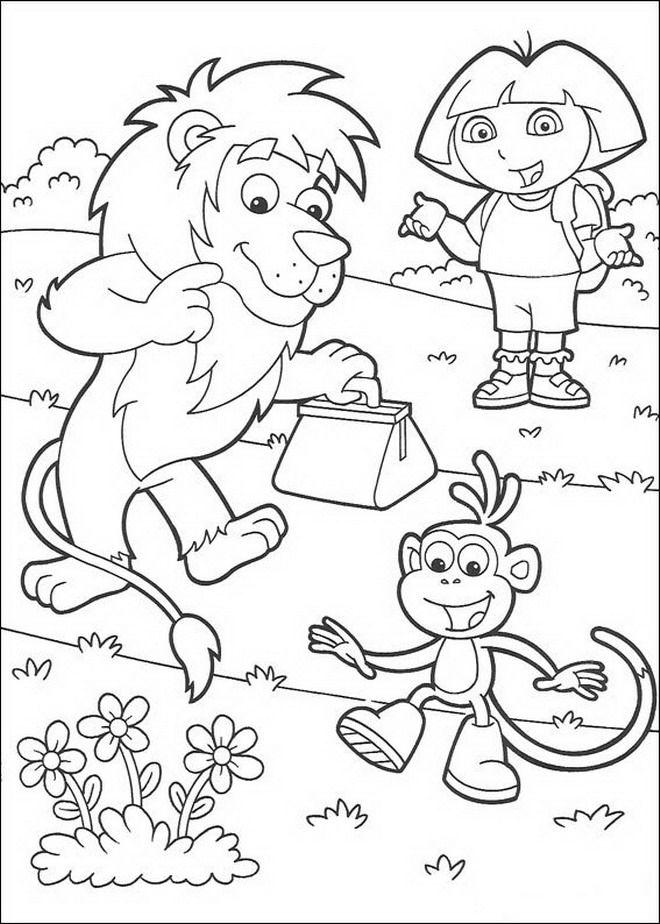 Kleurplaten Dora Pdf.Kleurplaat Dora De Verkenner Leon Dora En Boots Kleurplaten
