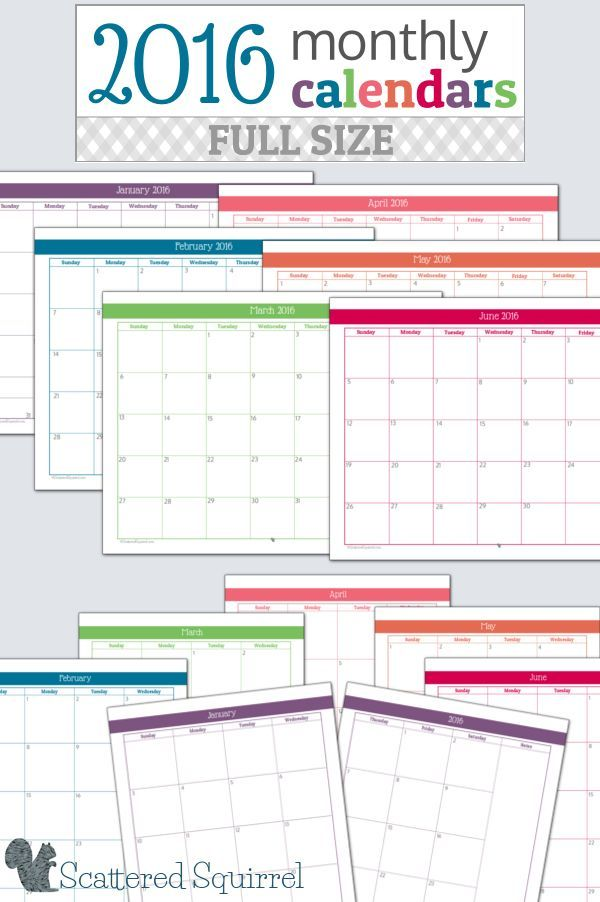 2016 Monthly Calendar Printables-Full Size Edition Planners