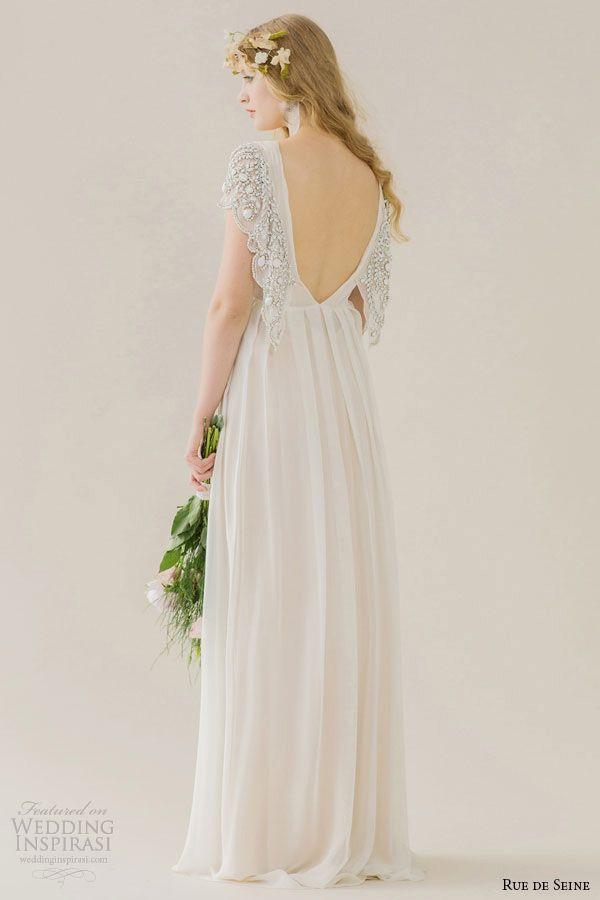 Rue De Seine Wedding Dress 2015 Bridal Short Embroidered Butterfly Sleeves Draped Bust V Neckline Loss
