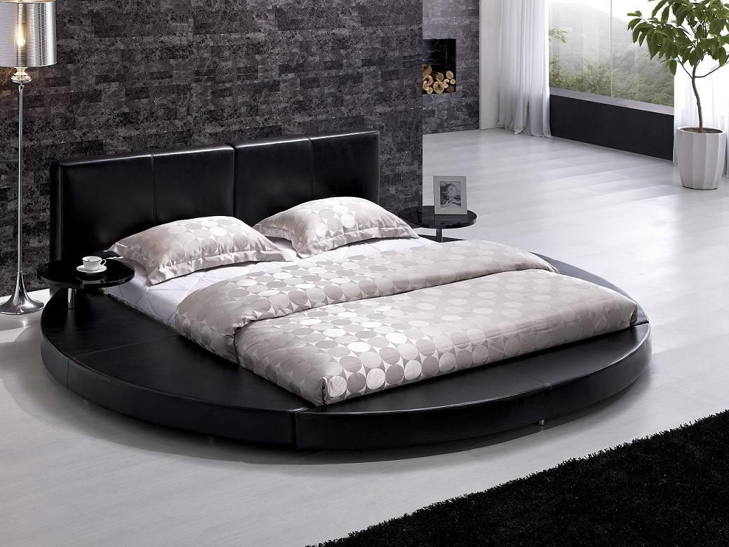 Tosh Furniture, Beds, Tosh Furniture Modern Black Leather Headboard Round  Bed King Tos Blk K