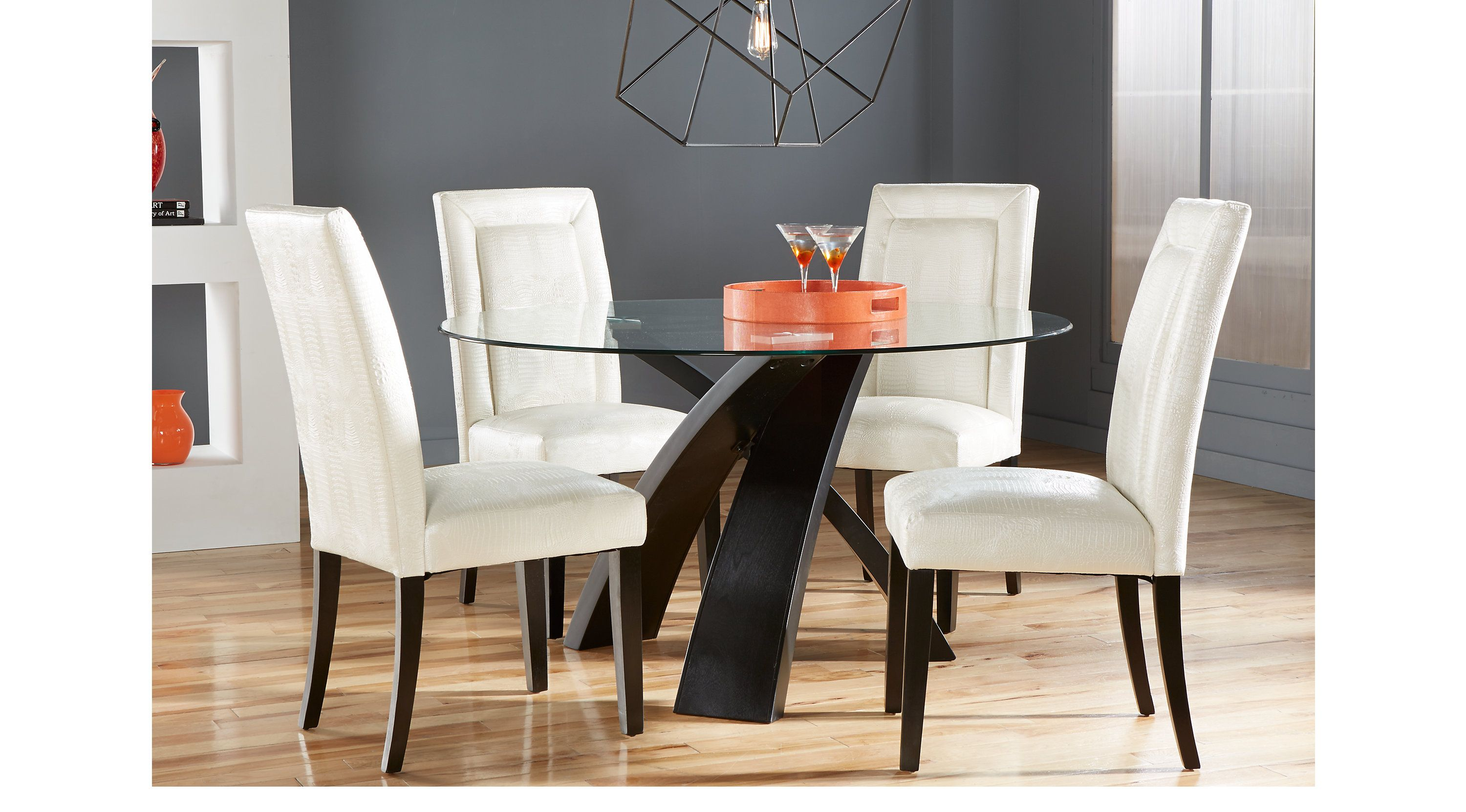 Dining Room Sets Rooms To Go Del Mar Ebony 5 Pc Round Dining Set White Chairs 4252569p Round Dining Room Table Round Dining Room Dining Room Sets Rooms to go glass dining table