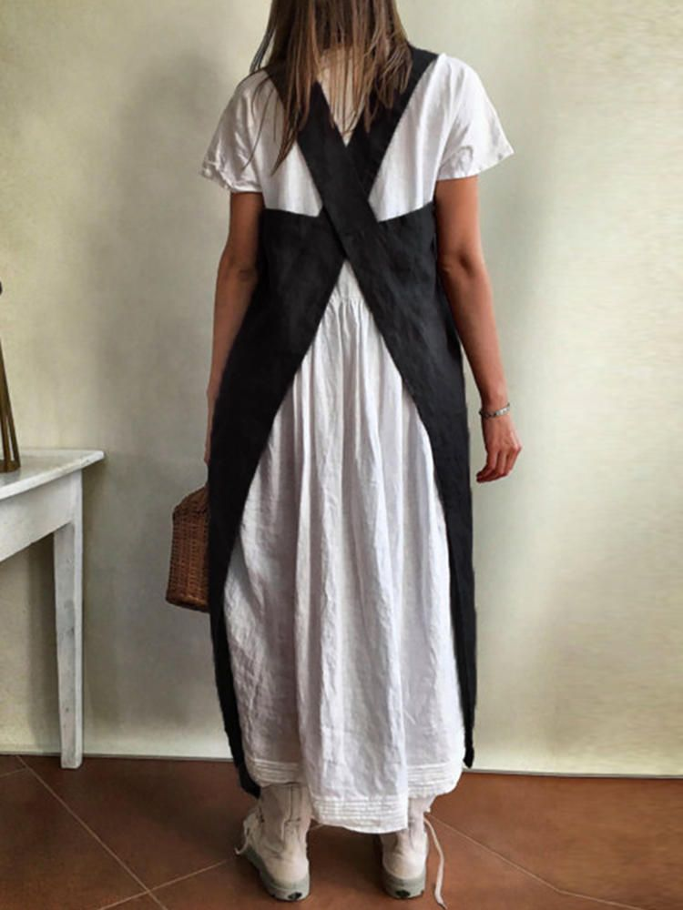 132f4d18bbb Women Japanese Style Kitchen Brief Solid Color Linen Pinafore Aprons with  Pockets