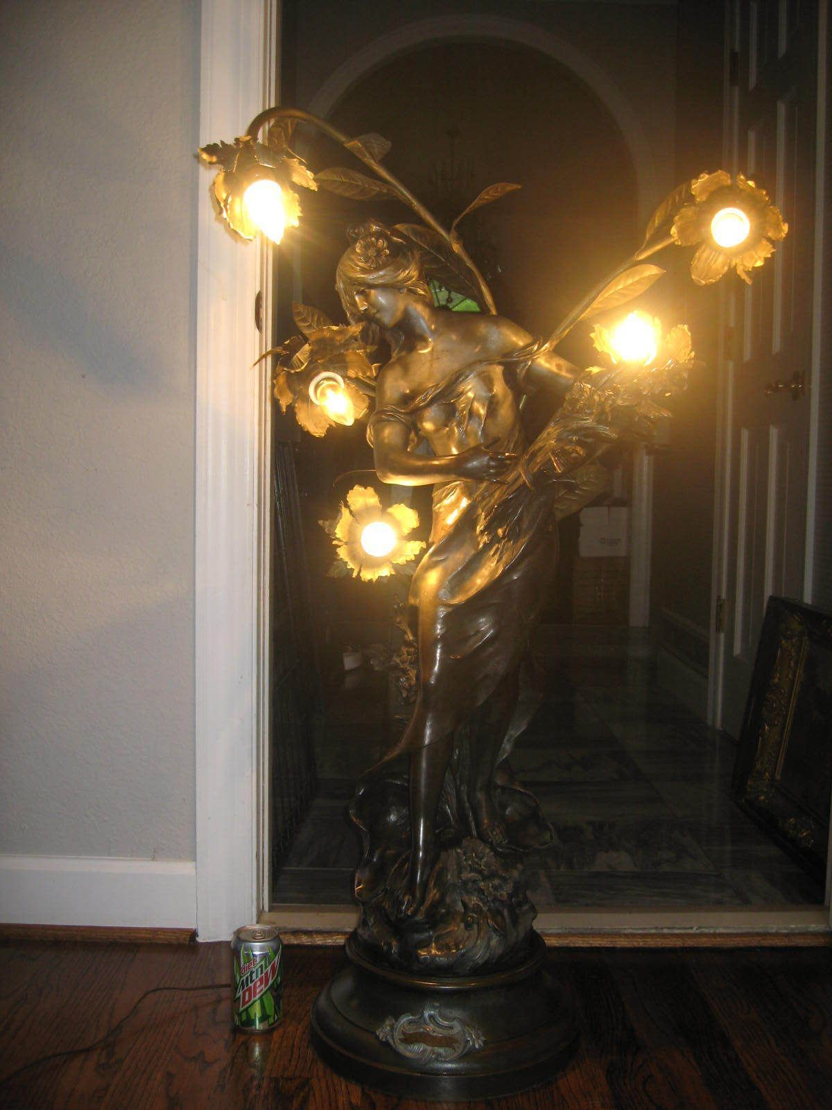 Vintage Art Nouveau French Lady Figural Newel Post Spelter Lamp Huge Ebay Glass Photography Victorian Art Lamp