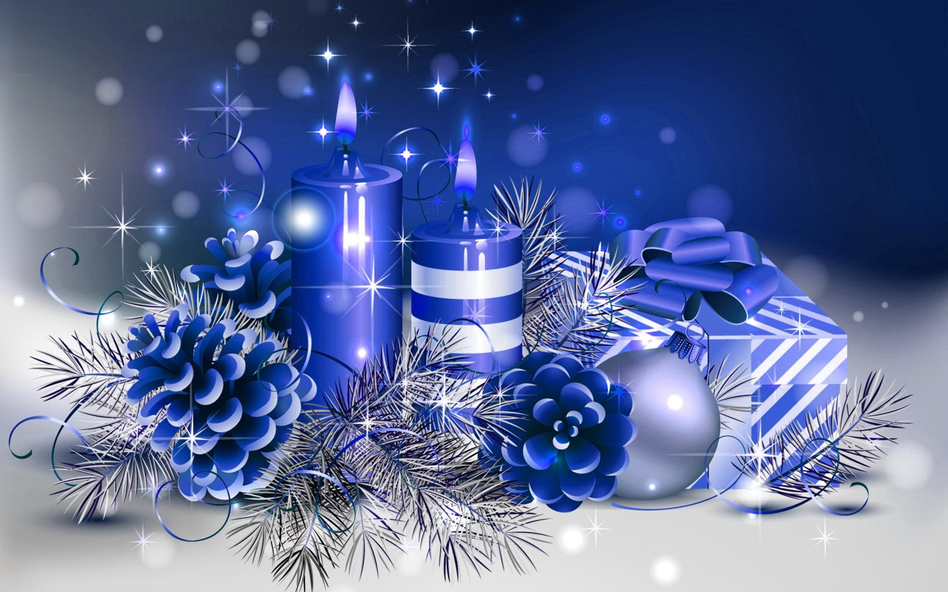 candles n Christmas Christmas Blue Candle,HD Wallpapers