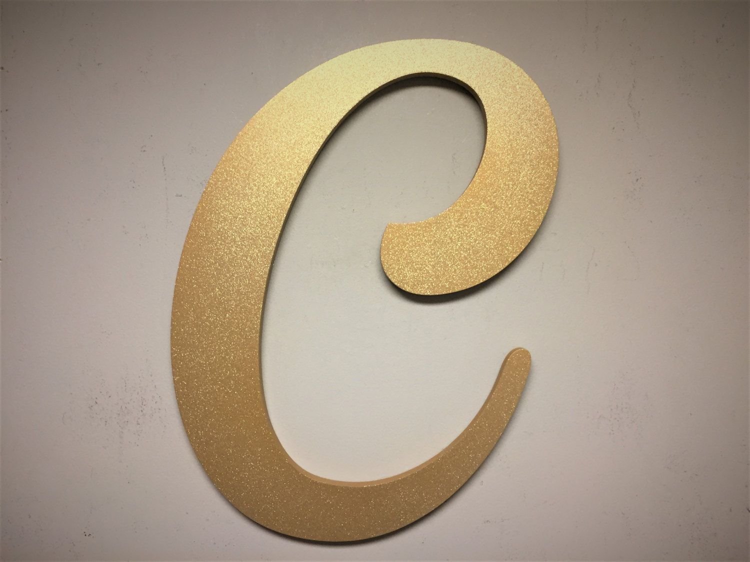 Letter C For Wall Wall Mounted Letter C Gold Sparkle Golden Letter Decor Large