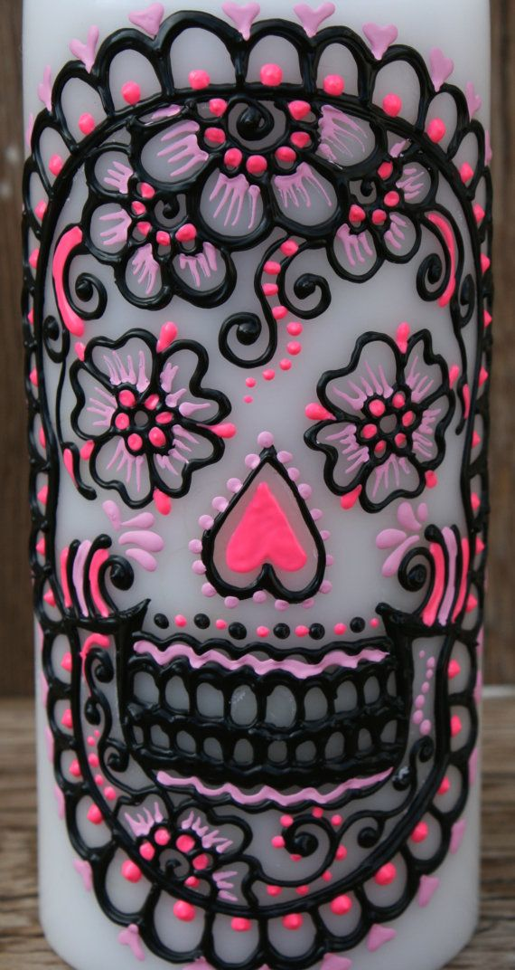 Painted Sugar Skull Pillar Candle White Pillar by LucentJane