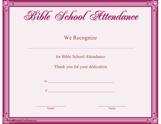 This Printable Certificate, Bordered In Purple, Recognizes Dedicated  Attendance At Bible School. Free  Attendance Certificates Printable